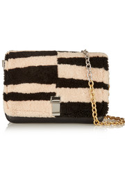 Courier striped shearling and leather shoulder bag