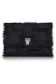 The Lunch Bag large leather-paneled tweed clutch