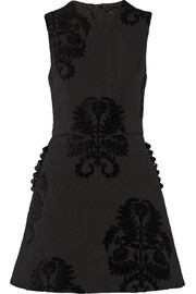 Embellished flocked brocade mini dress