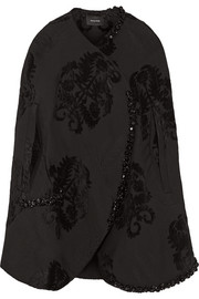 Embellished flocked brocade cape