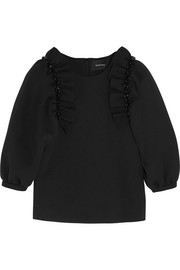 Embellished ruffled stretch-neoprene jersey top