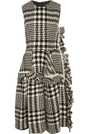 Faux pearl-embellished plaid bouclé-tweed dress