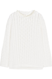 Faux pearl-embellished cable-knit wool sweater