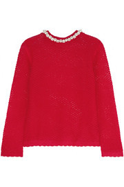 Faux pearl-embellished mohair-blend sweater