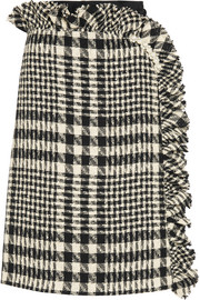 Embellished plaid boucl�-tweed and embroidered tulle skirt