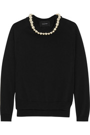 Embellished merino wool, silk and cashmere-blend sweater