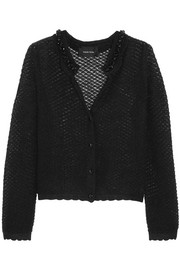 Embellished open-knit mohair-blend cardigan