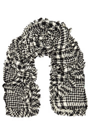 Embellished plaid bouclé-tweed scarf