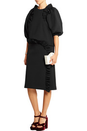 Embellished ruffled stretch-neoprene jersey skirt