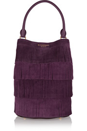 Fringed suede bucket tote