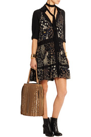 Fringed suede and leopard-print calf hair tote