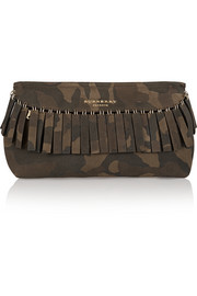 Fringed camouflage suede clutch