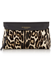 Leopard-print calf hair and leather clutch