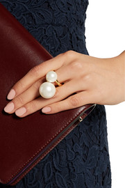 Gold-plated faux pearl ring