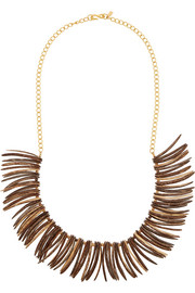 Gold-plated and faux wood necklace