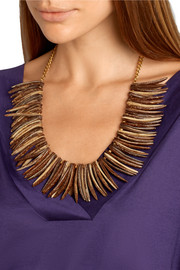 Gold-plated faux wood necklace