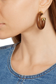 Gold-plated wood-effect earrings