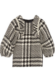 Embellished plaid bouclé-tweed top
