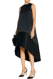 Asymmetric bonded satin and twill dress