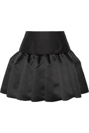 Pleated bonded satin and twill mini skirt