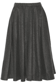 Wool-blend flannel midi skirt