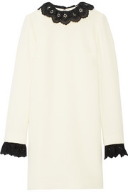 Broderie anglaise-trimmed wool-crepe dress