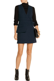 Belted wool-crepe mini dress
