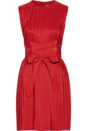 Belted pleated taffeta dress