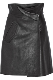 Wrap-effect textured-leather skirt