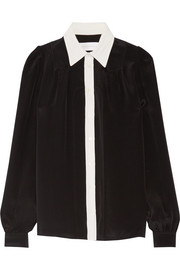 Two-tone silk crepe de chine shirt