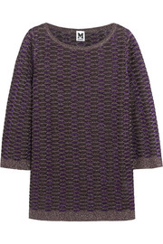 Metallic crochet-knit tunic