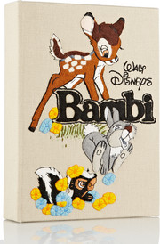 Bambi embroidered cotton-canvas clutch