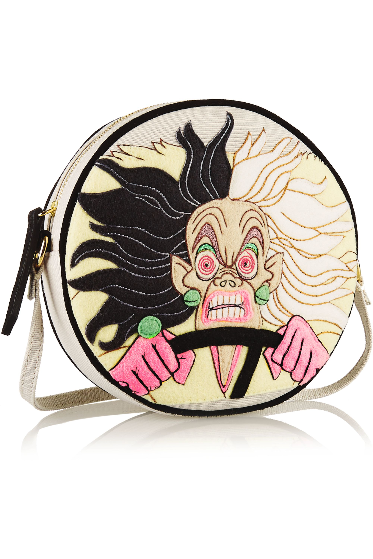 Olympia Le-Tan Cruella Dizzie suede-trimmed embroidered canvas shoulder bag