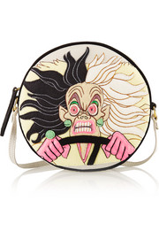 Cruella Dizzie suede-trimmed embroidered canvas shoulder bag