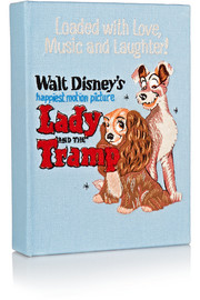 Lady and the Tramp embroidered cotton-canvas clutch