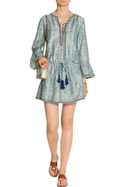 Pia printed cotton and silk-blend mini dress
