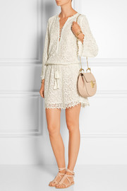 Ria cotton and silk-blend guipure lace mini dress