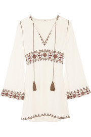 Columba embroidered gauze mini dress