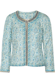 Embellished printed silk jacket