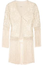 Ghara fringed embroidered silk-georgette jacket