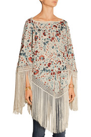 Sasha fringed embroidered silk poncho