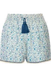Printed cotton and silk-blend shorts