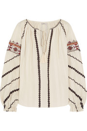 Embroidered woven cotton blouse