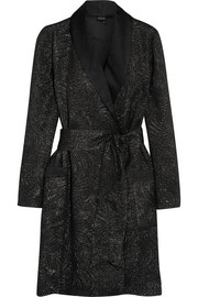 Metallic silk-satin jacquard robe