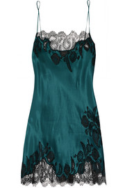 Florence lace-trimmed silk-satin chemise