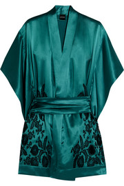 Florence lace-paneled silk-satin robe