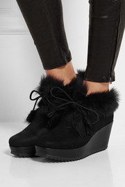 Fidela shearling-lined suede wedge ankle boots