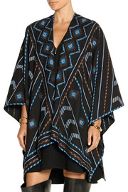 Geeti embroidered cashmere and wool-blend wrap