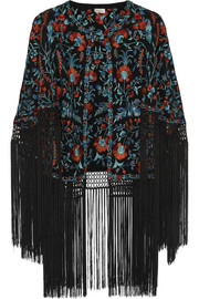 Zara fringed embroidered silk-ottoman cape
