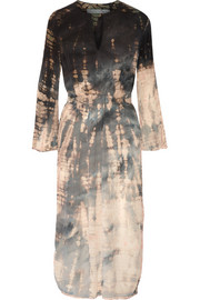 Raquel Allegra Tie-dyed crinkled silk-crepe midi dress